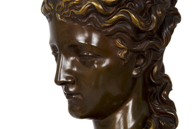 Antique French Bronze Sculpture of Female Bust by Eugene Aizelin & F.Barbedienne For Sale 7