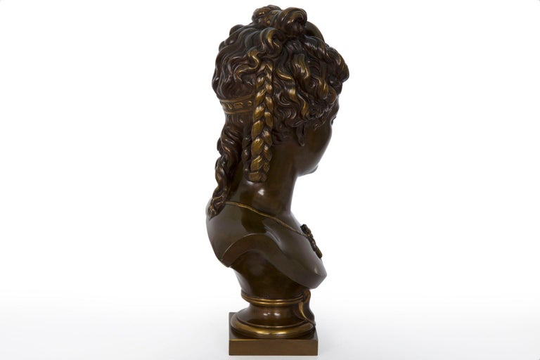 Antique French Bronze Sculpture of Female Bust by Eugene Aizelin & F.Barbedienne For Sale 13