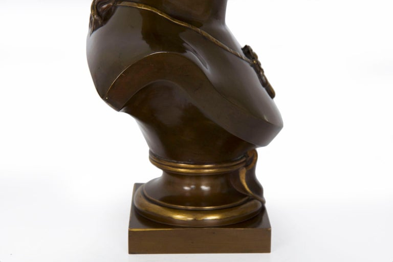 Antique French Bronze Sculpture of Female Bust by Eugene Aizelin & F.Barbedienne For Sale 14
