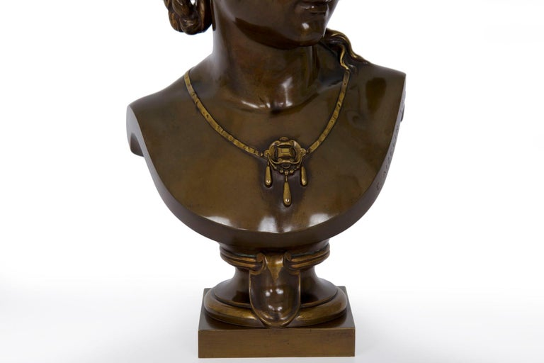 Romantic Antique French Bronze Sculpture of Female Bust by Eugene Aizelin & F.Barbedienne For Sale