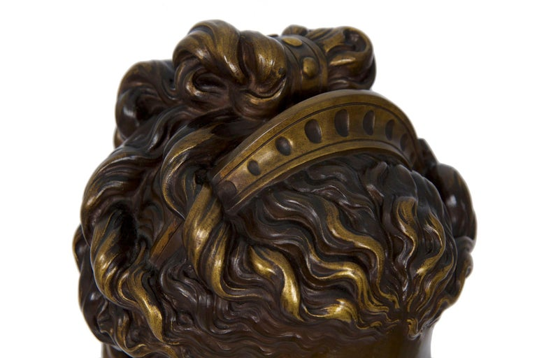 Antique French Bronze Sculpture of Female Bust by Eugene Aizelin & F.Barbedienne In Good Condition For Sale In Shippensburg, PA