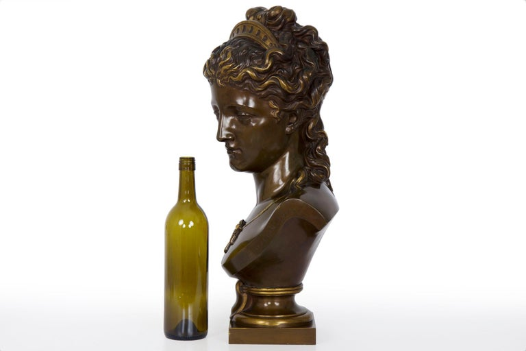 Antique French Bronze Sculpture of Female Bust by Eugene Aizelin & F.Barbedienne For Sale 1