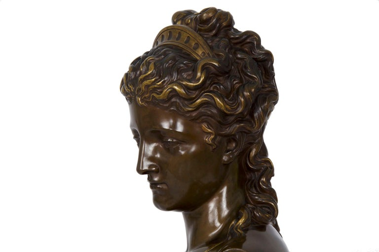 Antique French Bronze Sculpture of Female Bust by Eugene Aizelin & F.Barbedienne For Sale 2