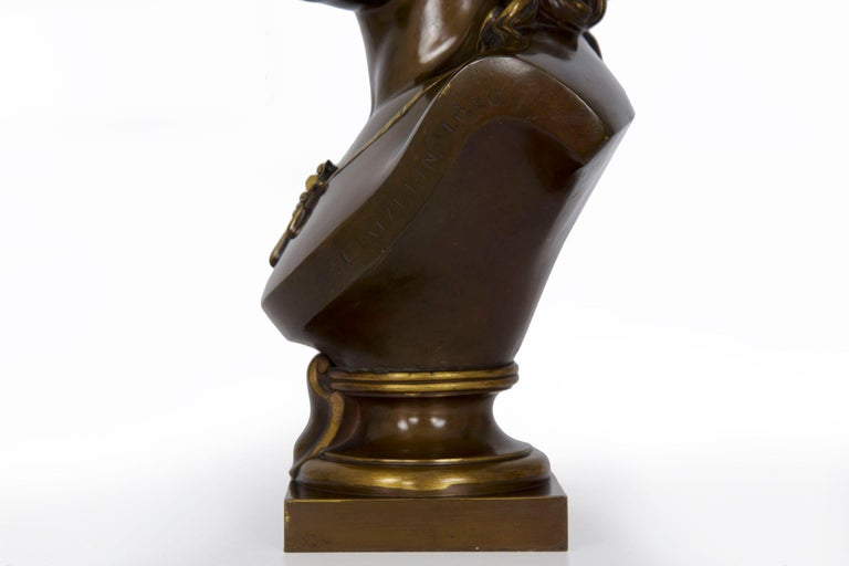 Antique French Bronze Sculpture of Female Bust by Eugene Aizelin & F.Barbedienne For Sale 3