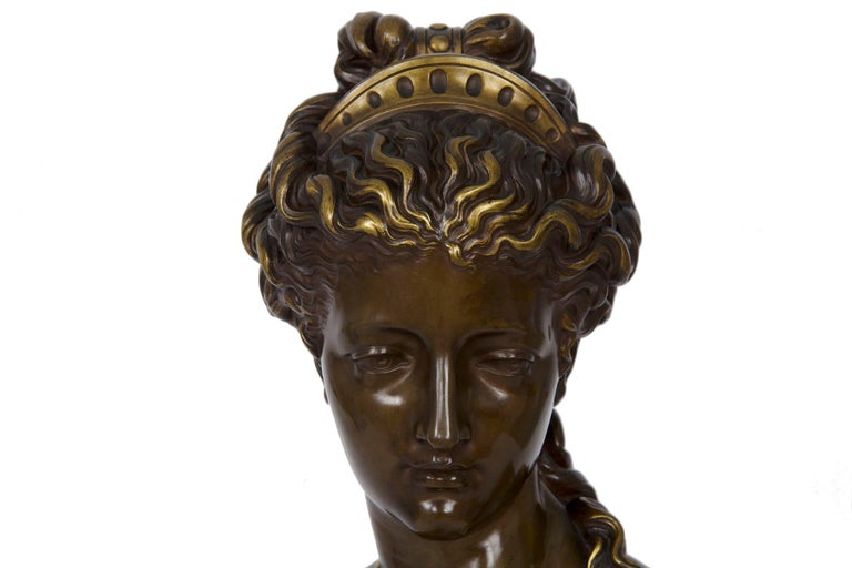 Antique French Bronze Sculpture of Female Bust by Eugene Aizelin & F.Barbedienne For Sale 4