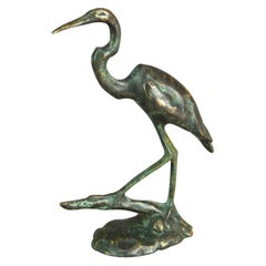 Antique French Bronze Sculpture of Great Blue Heron in Marsh, Circa 1910