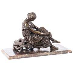 French Bronze Sculpture of Seated Poet Sappho after J. Pradier, 19th Century