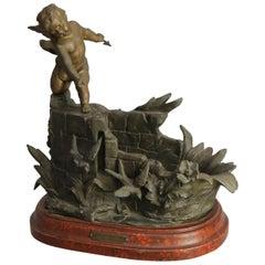 Antique French Bronzed Metal Figural Cherub Sculpture, circa 1890