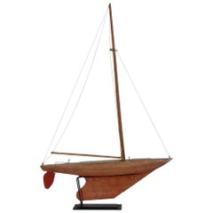 Antique French Brown and Red Model Sailboat