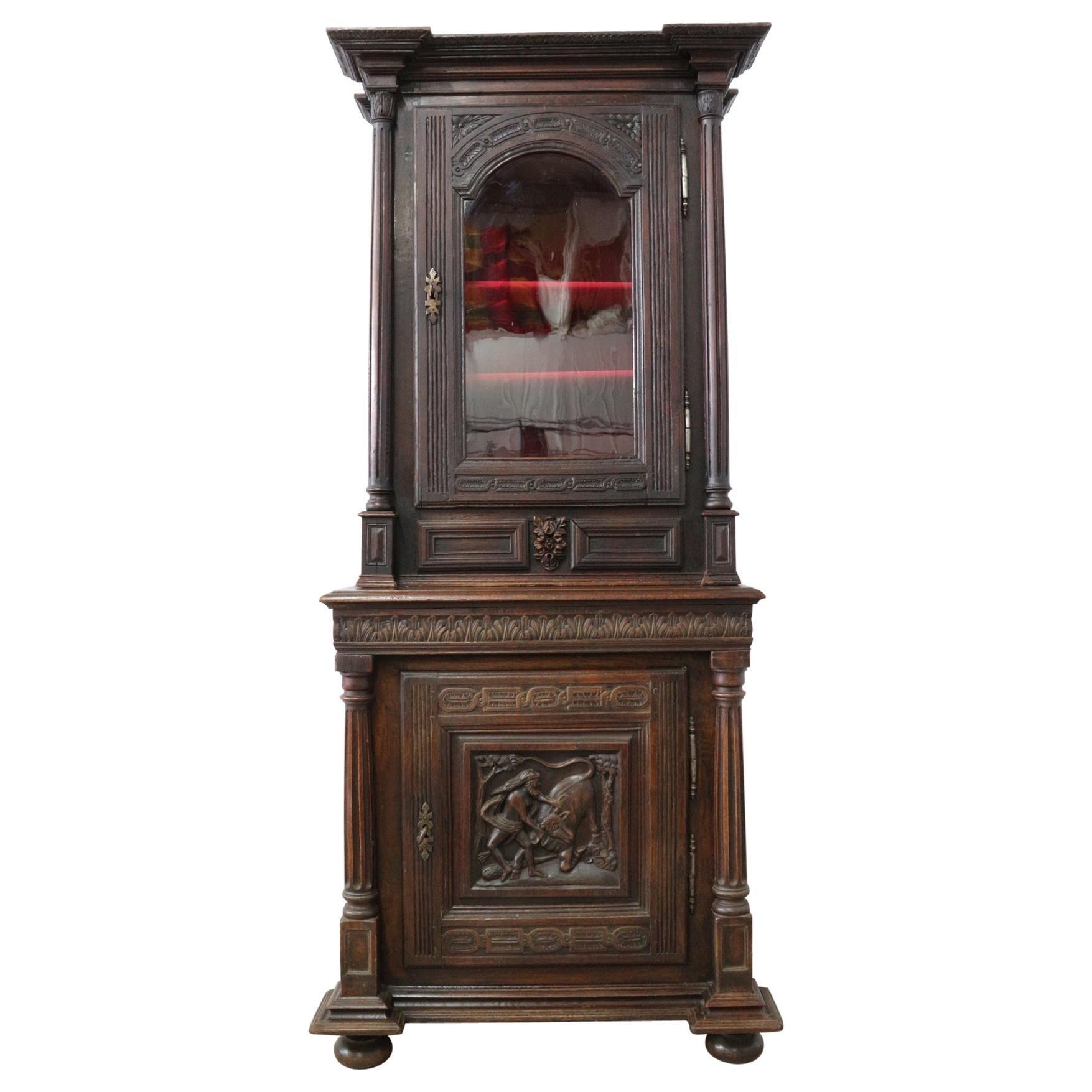 Antique French Buffet 18th Century Renaissance Carved Oak Vitrine Bookcase