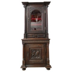 Antique French Buffet 18th Century Renaissance Carved Oak Vitrine Bookcase
