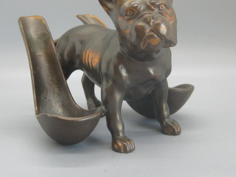 North American Antique French Bulldog Figural Dog Bronze Pipe Holder Stand Statue Sculpture For Sale