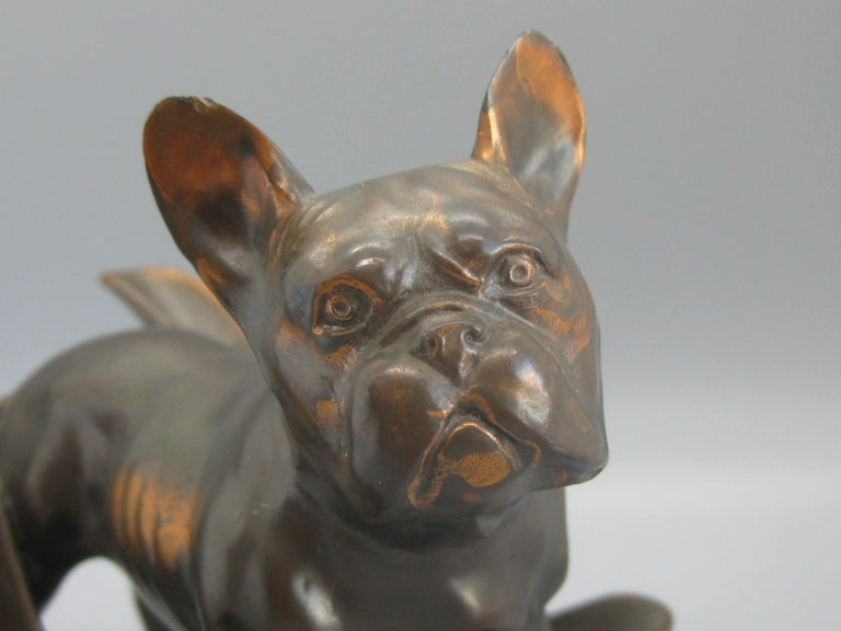 Antique French Bulldog Figural Dog Bronze Pipe Holder Stand Statue Sculpture For Sale 1