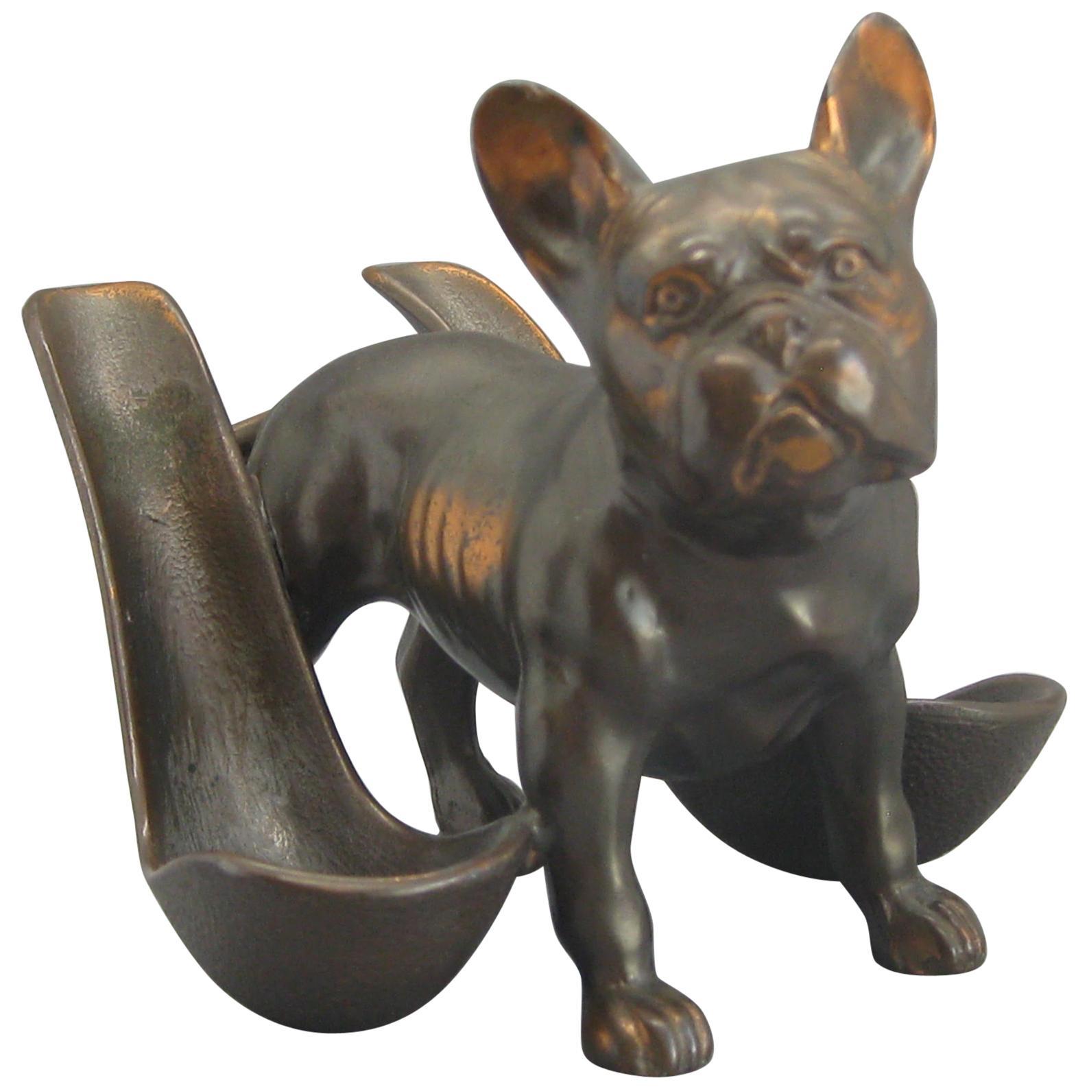 Antique French Bulldog Figural Dog Bronze Pipe Holder Stand Statue Sculpture