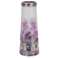 Antique French Burgun & Schwerer Silver Overlay Purple Art Glass Cameo Vase