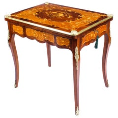 Antique French Burr Walnut Marquetry Card or Backgammon Table, 19th Century