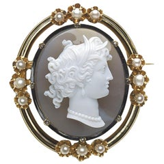 Antique French Cameo Pearl and Diamond Gold Brooch