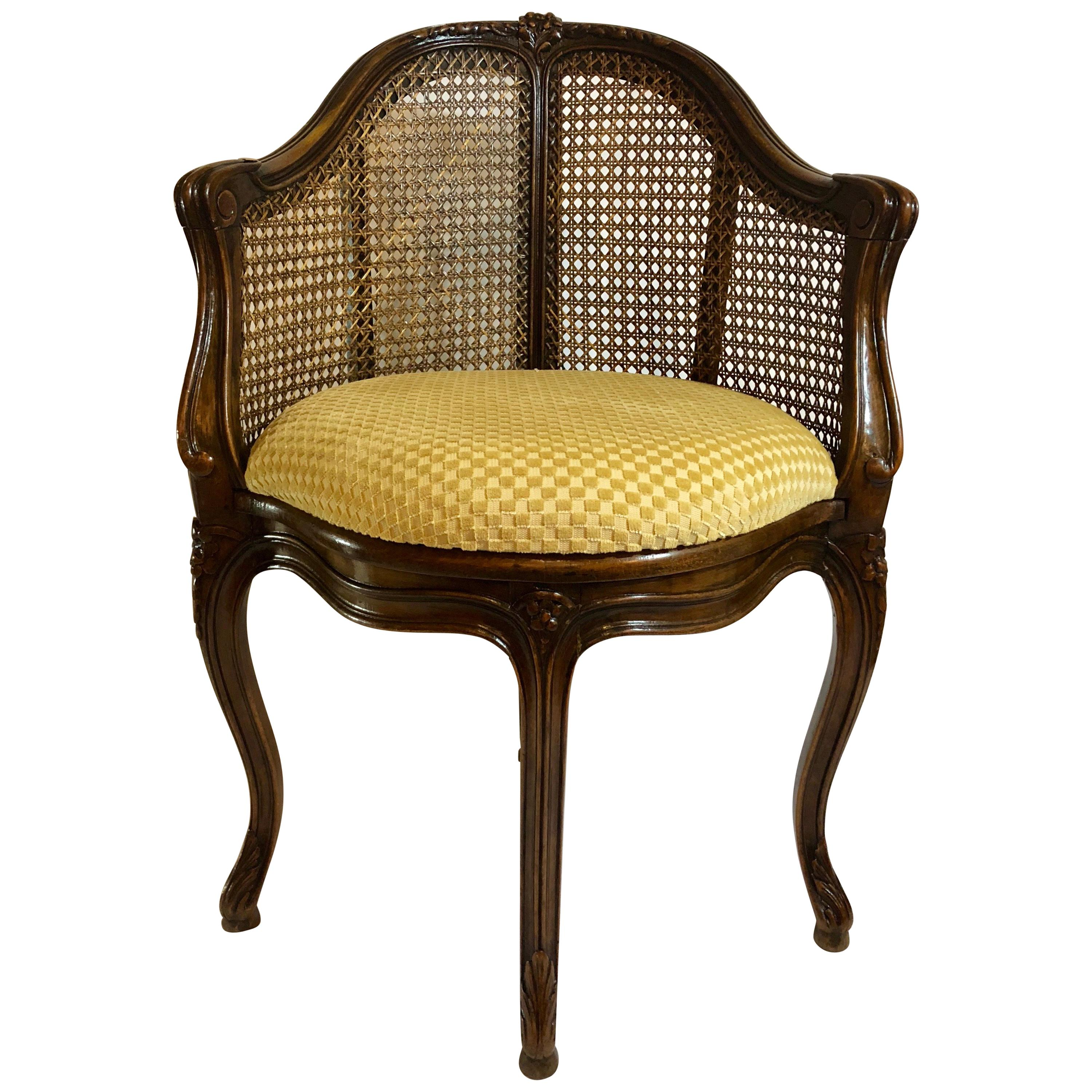 Antique French Cane Back 19th Century Corner Chair