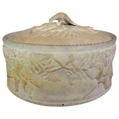 Antique French Caneware Game Pie Dish or Tureen with Liner
