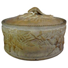 Antique French Caneware Game Pie Dish with Liner