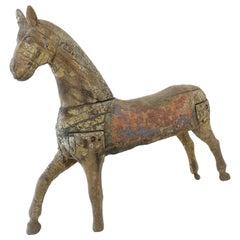 Antique French Carousel Horse on Custom Iron Hanging Bracket