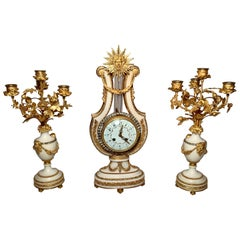 Antique French Carrara Marble Clock Set with Candlesticks, circa 1800
