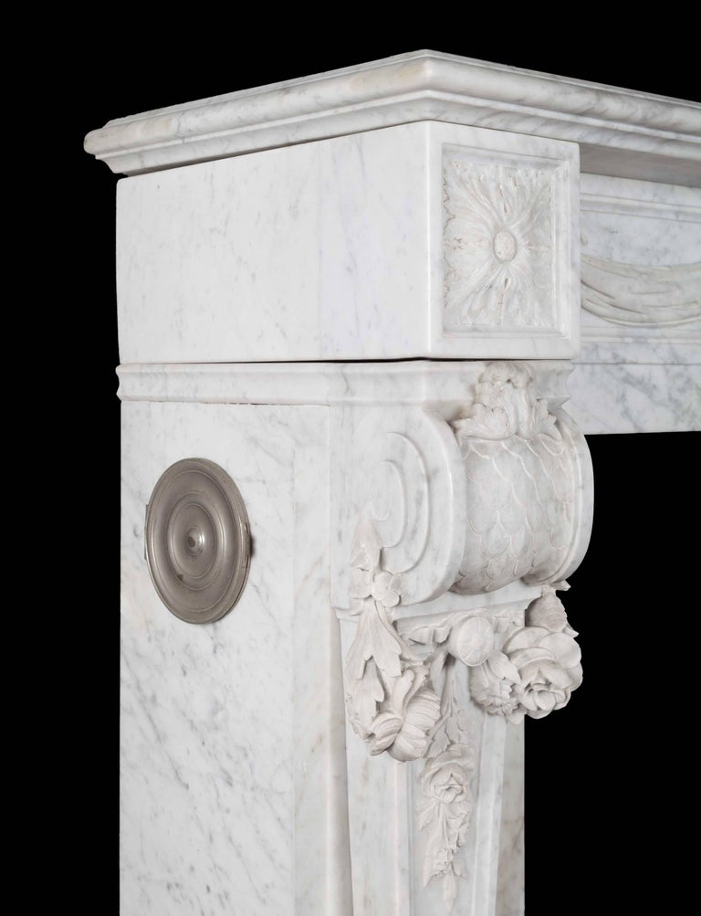 Louis XVI Antique French Carrara Marble Mantelpiece For Sale