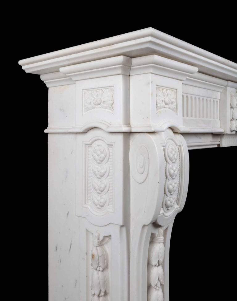Napoleon III Antique French Carrara Marble Mantelpiece For Sale