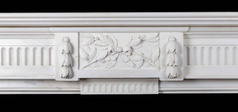 Carved Antique French Carrara Marble Mantelpiece For Sale