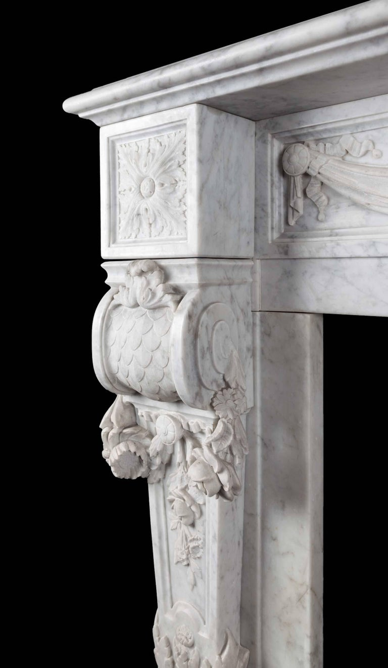 19th Century Antique French Carrara Marble Mantelpiece For Sale