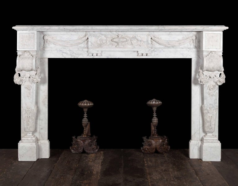 Antique French Carrara Marble Mantelpiece For Sale 2