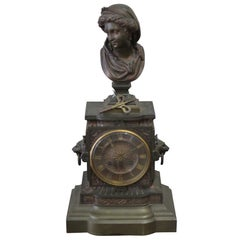 Antique 19th Century Figural French Carrier Belleuse Bronze Clock
