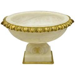 Antique French Carved Alabaster Large Table Centerpiece Center Fruit Bowl