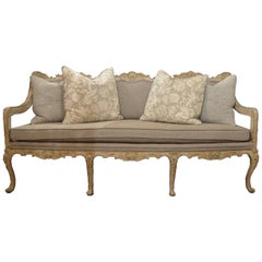 Antique French Carved and Painted Grisaille Upholstered Sofa