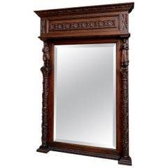 Antique French Carved Chestnut Pier Mantel Mirror Breton Brittany Frame Beveled