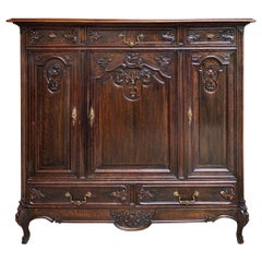 Antique French Carved Dark Oak Sideboard Dresser Cabinet Louis XV Style 'A'