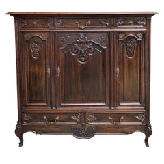 Antique French Carved Dark Oak Sideboard Dresser Cabinet Louis XV Style 'B'
