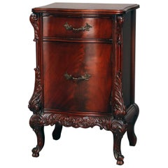 Antique French Carved Flame Mahogany Serpentine Nightstand, circa 1930