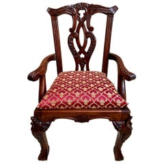 Antique French Carved Mahogany Doll Child's Chair Louis XV Style, 20th Century