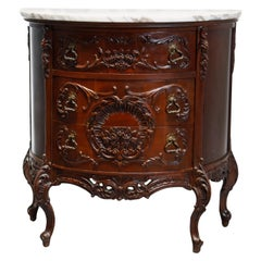 Antique French Carved Mahogany Marble Top Demilune Commode, 20th Century