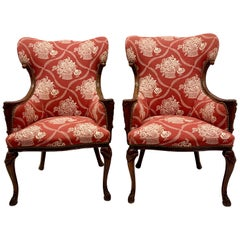 Antique French Carved Mahogany Wing Chairs in Schumacher Fabric, Pair