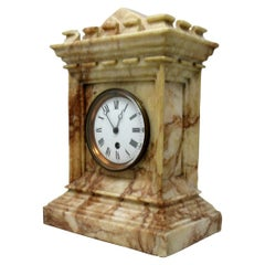 Antique French Carved Marble Architectural Castle Form Mantle Clock Timepiece