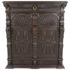 Antique French Carved Oak 19th Century Hall Cabinet, Side Cabinet, France, 1880