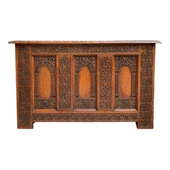 Antique French Carved Oak Altar Hall Table Sofa Foyer Gothic Chapel Church 1900s
