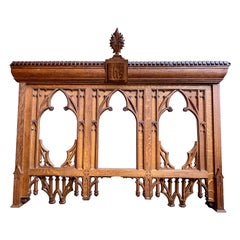 Antique French Carved Oak Altar Wall Hanging Gothic Architectural Church Mantel