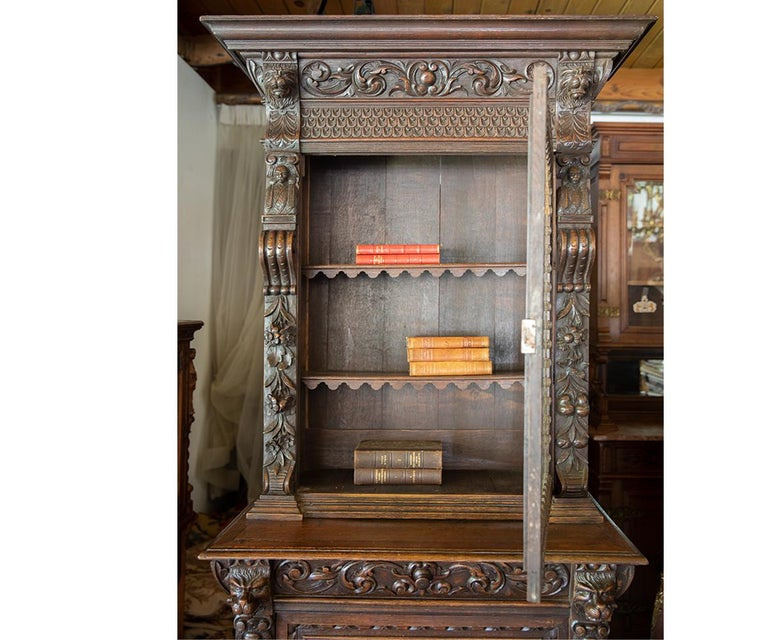 Hand-Carved Antique French Carved Oak Bookcase For Sale
