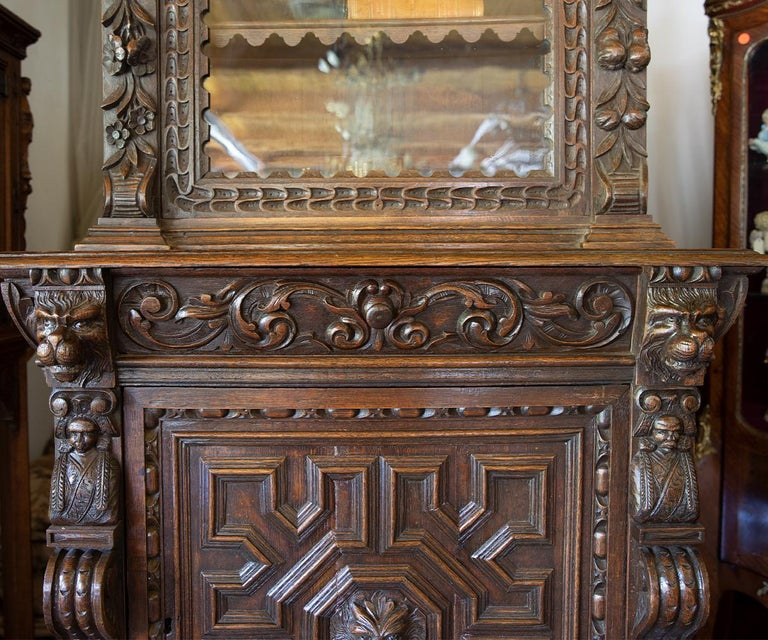 Glass Antique French Carved Oak Bookcase For Sale