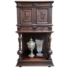 Antique French Carved Oak Cabinet Vestment Bookcase Renaissance Archer Warrior