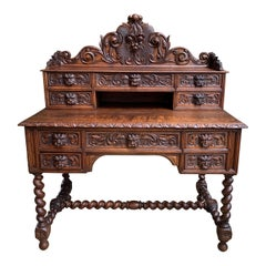 Antique French Carved Oak Desk Barley Twist Lion Black Forest Style Renaissance