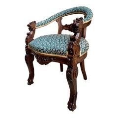 Antique French Carved Oak Desk Hall Accent Arm Chair Renaissance, 19th century